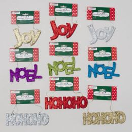 108 Units of Ornament Glitter Greetings 3ast Hoho/joy/noel 7ast Colors Christmas Tcd - Christmas Ornament