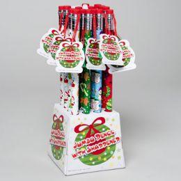 128 Units of Pencil Jumbo 12.5in Christmas 4prints W/sharpener 16pc Pdq Ht - Christmas Novelties