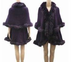 4 Units of Woman's Fur Line Winter Jacket - Winter Pashminas and Ponchos