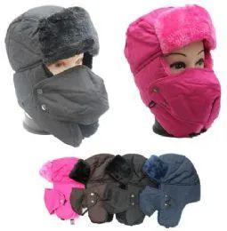 48 Units of Adults Faux Fur Unisex Trapper Hat Assorted Color - Trapper Hats