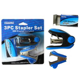 144 Units of 3 Piece Stapler With 500 Staples - Staples and Staplers