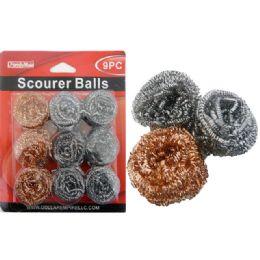 96 Units of Scourer Balls 3pc Gold 30gm - Scouring Pads & Sponges