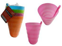 96 Units of Pls Tumbler W Straw 4pc Asst - Plastic Drinkware
