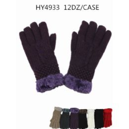 36 Units of Woman's Faux Fur Lining Winter Glove Assorted Color - Knitted Stretch Gloves