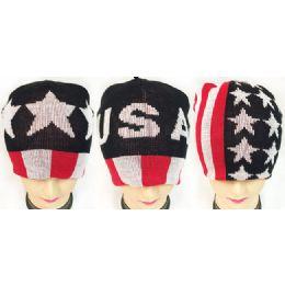 36 Units of USA Printed Beanie Hat - Winter Beanie Hats