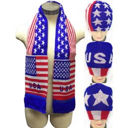 24 Units of USA Design Knitted Beanie Hat Scarf Set - Winter Sets Scarves , Hats & Gloves