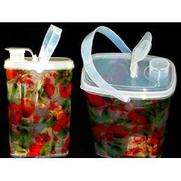 48 Units of Water Jar W/Clear Fruit Design - Plastic Drinkware