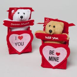 48 Units of Bear In Felt Ribboned Gift Box 2ast Be Mine/love You 6in H Valentine Hangtag - Valentines