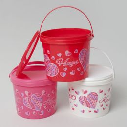 72 Units of Valentine Candy Bucket W/ Lids - Valentine Gift Bag's