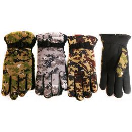 24 Units of Winter Camo Ski Glove With Inside Lining And AntI-Slip Grip - Ski Gloves
