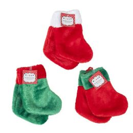 48 Units of Stocking Mini 2pk 7in Deluxe** Plush 3ast Colors/12pc Merchstrp Christmas - Christmas Stocking