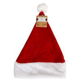 48 Units of Santa Hat Red Velvet Plush Cuff - Christmas Novelties