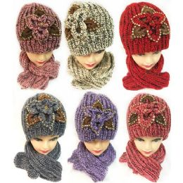 24 Units of Winter Knitted Scarf Hat Set with Sequins Flower Design - Winter Sets Scarves , Hats & Gloves