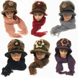 24 Units of Winter Knitted Scarf Hat Set with Large Flower Design - Winter Sets Scarves , Hats & Gloves