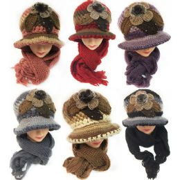24 Units of Winter Knitted Scarf Hat Set with Fur Ball Design - Winter Sets Scarves , Hats & Gloves