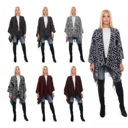 24 Units of Wrap Poncho Greek Geo Print with Fringe Bottom - Winter Pashminas and Ponchos