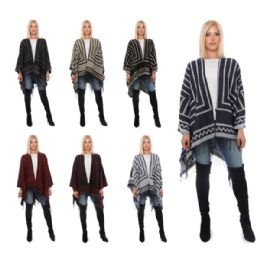 12 Units of Wrap Poncho Stripe Zig Zag with Fringe Bottom - Winter Pashminas and Ponchos