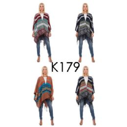 12 Units of Wrap Poncho Multicolor Aztec Print with Fringe Bottom - Winter Pashminas and Ponchos