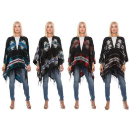 12 Units of Wrap Poncho Aztec Print with Fringe Bottom - Winter Pashminas and Ponchos