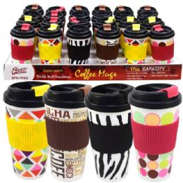 48 Units of Coffee Mug Double Wall 16oz Printed Colors - Coffee Mugs