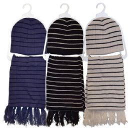 24 Units of Hat & Scarf 2 Piece Set Assorted Colors - Winter Sets Scarves , Hats & Gloves