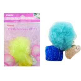 144 Units of 3 Piece Bath Set - Loofahs & Scrubbers