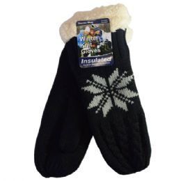 24 Units of Winter Glove Insulated Mittens Leaf - Knitted Stretch Gloves