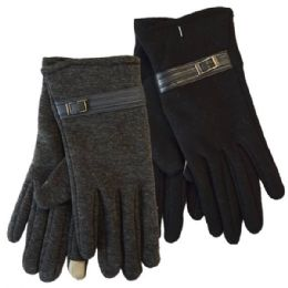 24 Units of Winter Ladies Sensitive Touch Gloves with Buckle - Conductive Texting Gloves