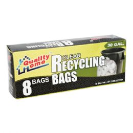 48 Units of 8 Count Garbage Bag Box Clear Recycle - Garbage & Storage Bags