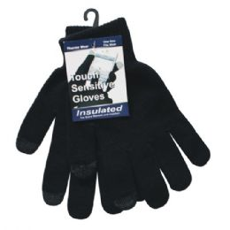 36 Units of Winter Black Texting Glove - Conductive Texting Gloves