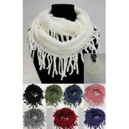24 Units of Fringe/loose Knit Knitted Infinity Scarf - Winter Scarves