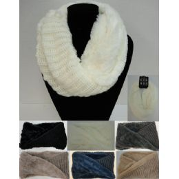 24 Units of Plush/knit Knitted Infinity Scarf - Winter Scarves