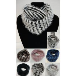 24 Units of Shaggy Chevron Knitted Infinity Scarf - Winter Scarves