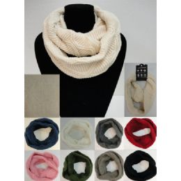 48 Units of Knitted Infinity Scarf [wavy Knit] - Womens Fashion Scarves