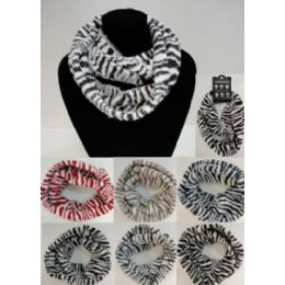 24 Units of Zebra Print Knitted Infinity Scarf - Winter Scarves