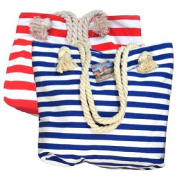 48 Units of Fashion Bag Large Stripes w/ Rope - Shoulder Bags & Messenger Bags
