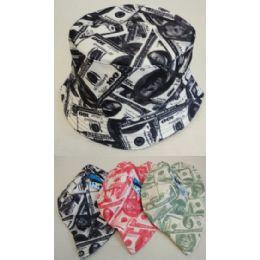 24 Units of Money Printed Bucket Hats in Assorted Colors - Bucket Hats