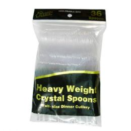 96 Units of Plastic Cutlery Clear 36CT Spoon - Disposable Cutlery