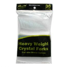 96 Units of Plastic Cutlery Clear 36CT Fork - Disposable Cutlery