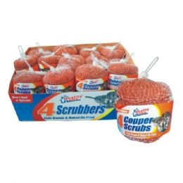 48 Units of Metal Scrubber 4pk Bronze Counter Display - Scouring Pads & Sponges