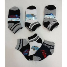 240 Units of Boy's Printed Anklet Socks 2-4 [cars] - Boys Ankle Sock