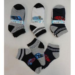 240 Units of Boy's Printed Anklet Socks 4-6 [cars] - Boys Ankle Sock