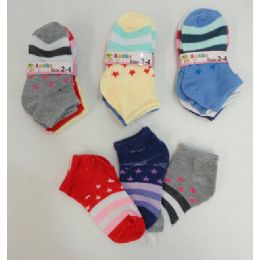 240 Units of Girl's Printed Socks 2-4 [stars & Stripes] - Girls Ankle Sock