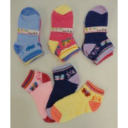 240 Units of Girl's Printed Socks 4-6 [butterflies] - Girls Ankle Sock