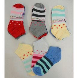 360 Units of Girl's Printed Socks 6-8 [stars & Stripes] - Girls Ankle Sock