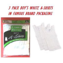 48 Units of Fruit LooM-HaneS-GildaN-Boy 3pk White A-Shirts In Famous Brand pk - Boys T Shirts