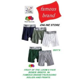 48 Units of FRUIT LOOM - HANES 3PK BOY'S BOXER BRIEFS IN FAMOUS BRAND PACKAGING - Boys Underwear