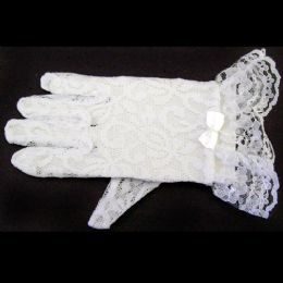 120 Units of White Lace Gloves For Toddlers - Toddler Girl