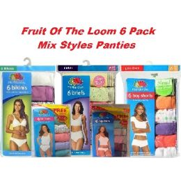 48 Units of FRUIT OF THE LOOM 6 PACK MIXED STYLES PANTIES