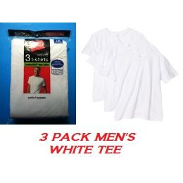24 Units of HANES 3 PACK MEN'S WHITE CREW NECK T-SHIRT - SLIGHTLY IMPERFECT SIZE LARGE - Mens T-Shirts